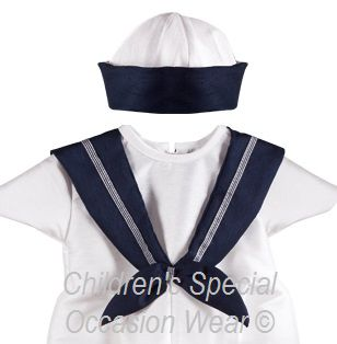 c657c9f55 Baby Boys Navy White Dupion Sailor Christening Romper   Hat Suit 2 ...
